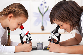 Children looking through microscopes to learn about nature and science.