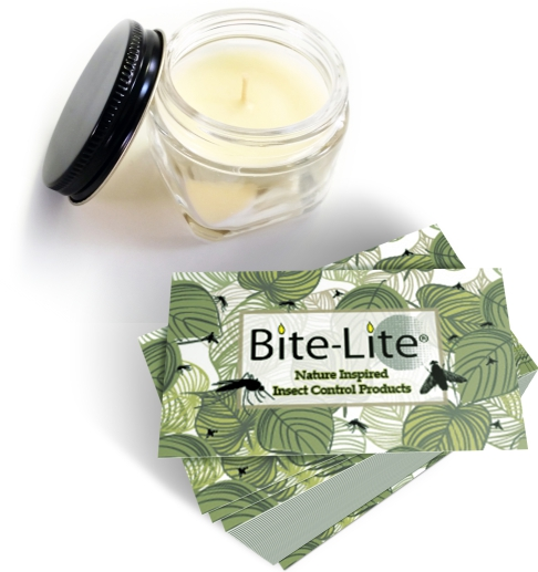 Display our Bite-Lite natural mosquito repellent soy mini jar and buiness cards